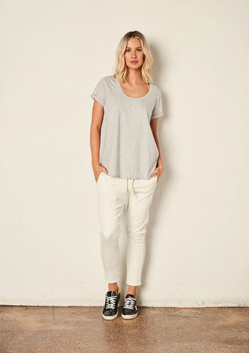 The Staple Deep Relaxed Tee - Ash Marle - Mandi at Home
