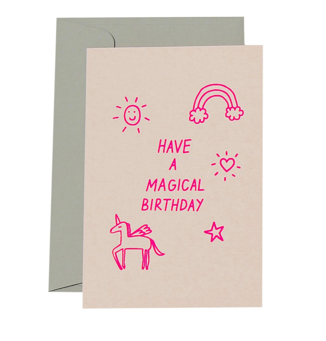 Magical Birthday Card - Neon Pink on White - Mandi at Home