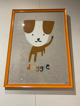 Load image into Gallery viewer, Art Teatowel - Doggie with professional orange frame - Mandi at Home