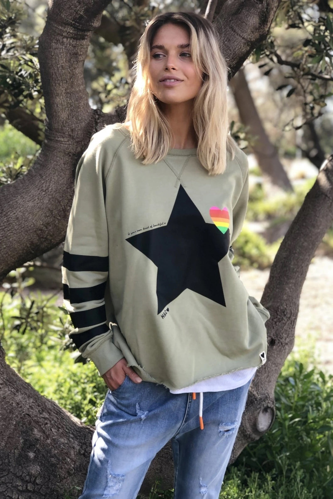 Women's Retro Raw Edge Black Star Sweat - Khaki - Hammill & Co - Mandi at Home