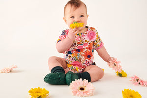 Pinky Field of Dreams Organic Short Sleeve Romper - Kip & Co - Delivery mid-late February - Mandi at Home