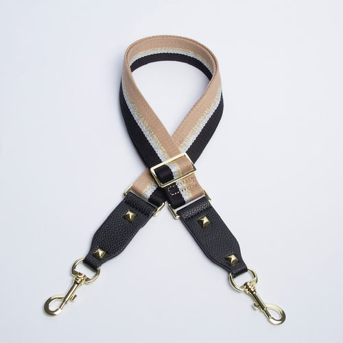 Handbag Strap - Silver, Black & Gold Stripe