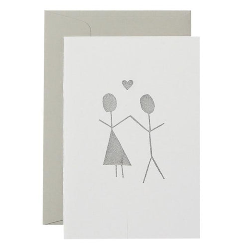 Girl Boy Heart Card - Silver on White - Mandi at Home