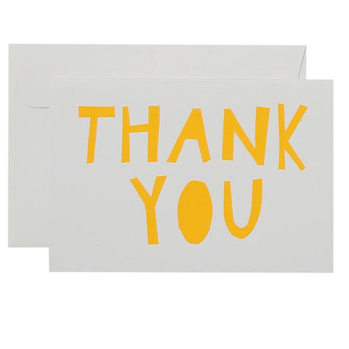 Thank You Card - Yellow on White - Mandi at Home