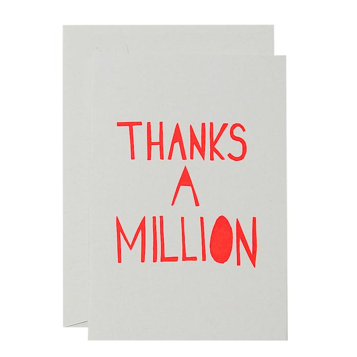 Thanks A Million Card - Neon Red and White - Mandi at Home
