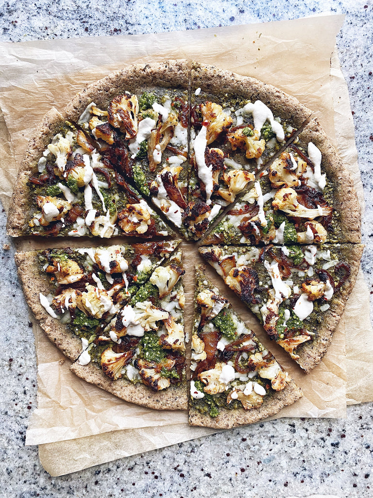Pesto & Roasted Cauliflower Pizza (Paleo & Vegan)