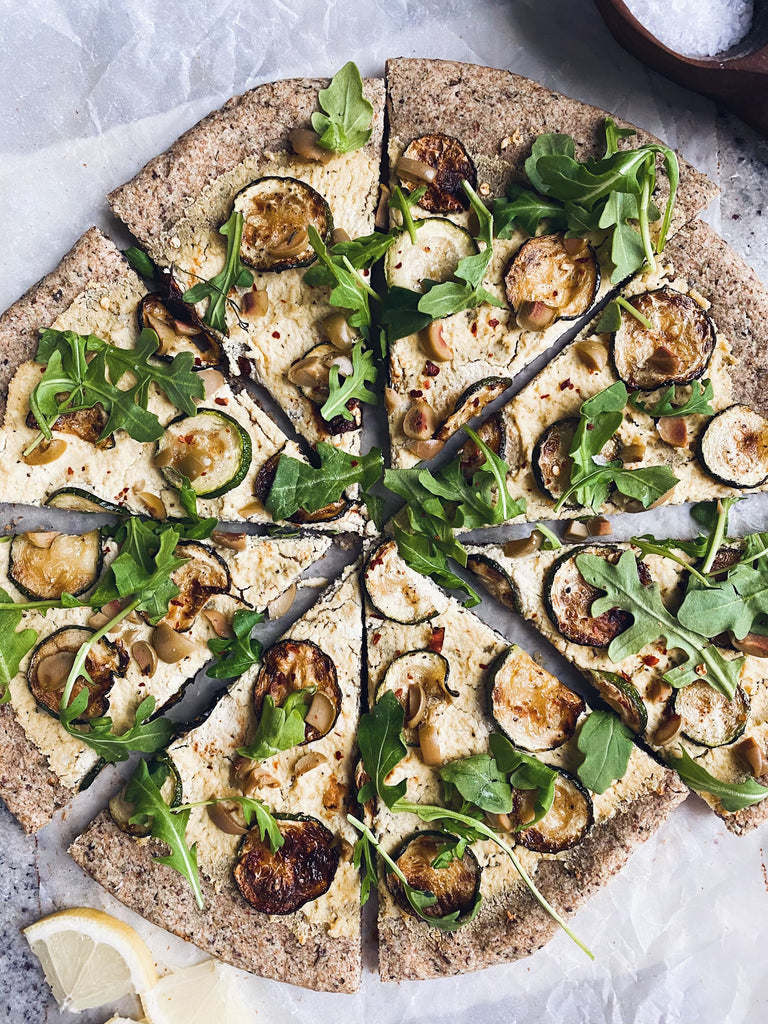 Grain-Free Green Pizza with Ricotta, Zucchini, Arugula & Lemon