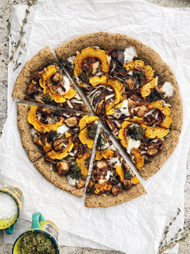 Paleo Squash Pizza with Pesto + Mushrooms