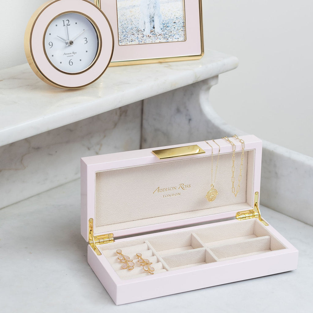 Pink Lacquer Box With Gold