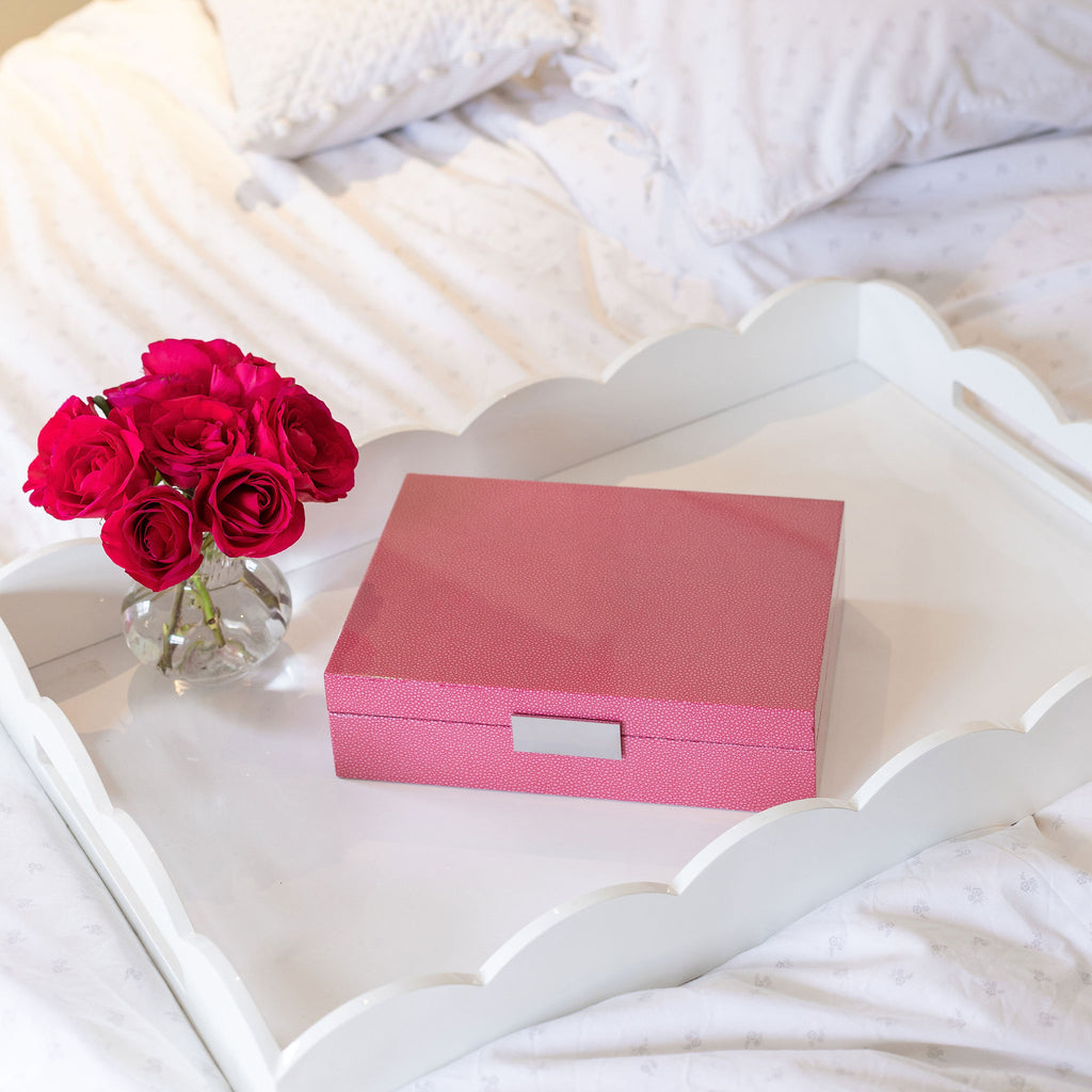 Large Pink Shagreen & Silver Glasses Box