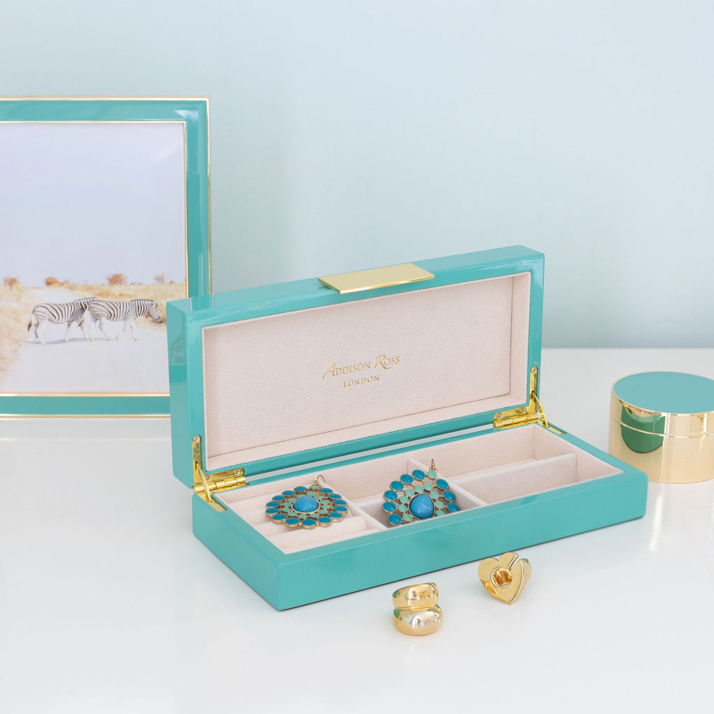 Turquoise Jewellery Box with Gold