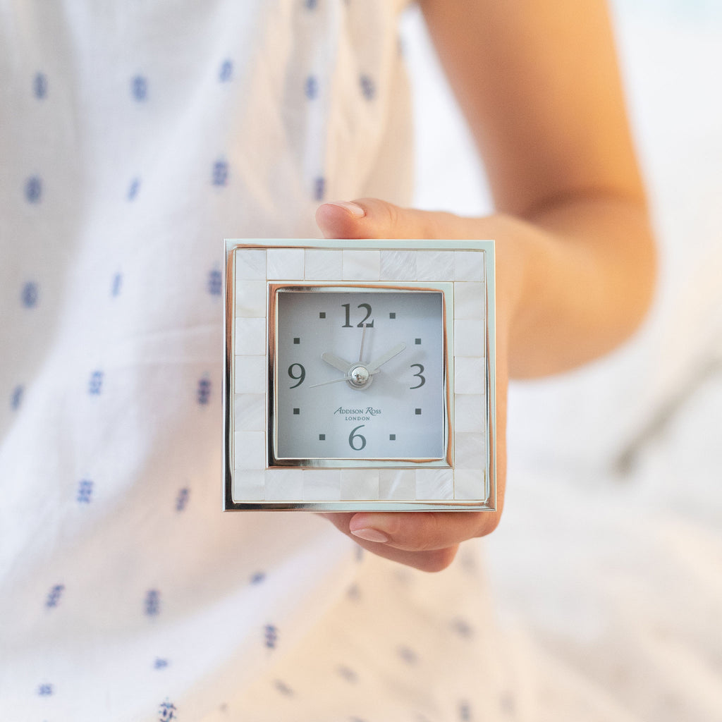 Mother of Pearl Shell & Silver Square Silent Alarm Clock