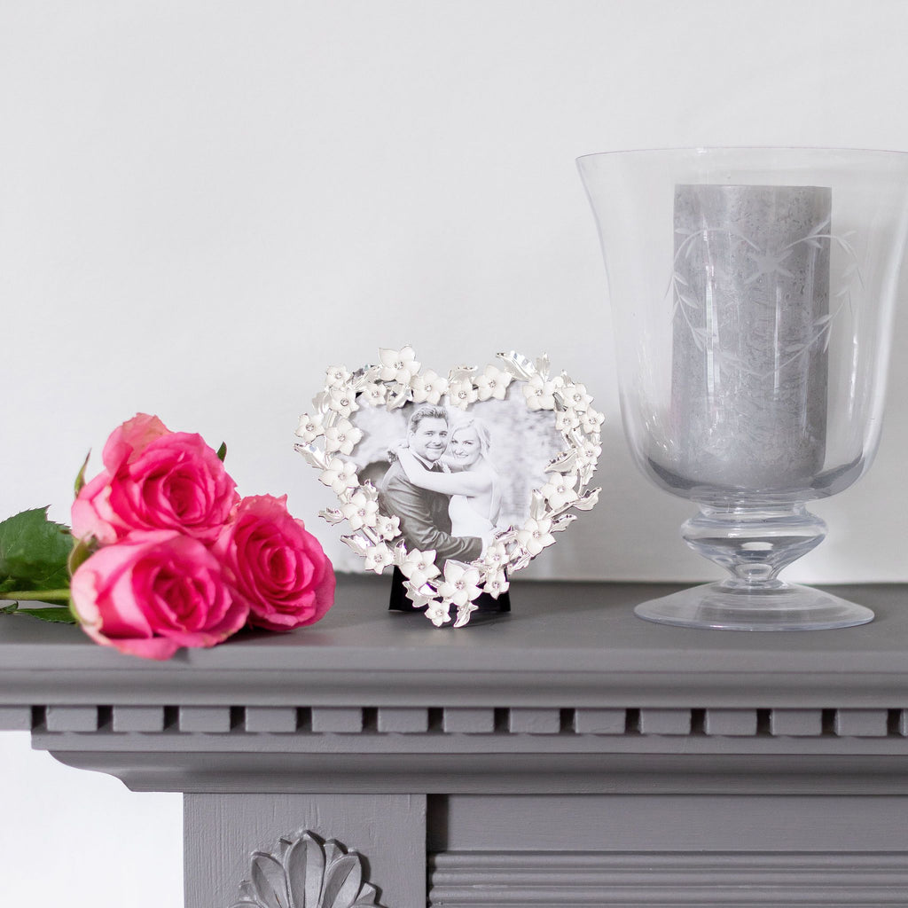 Silver & White Heart Flower Frame