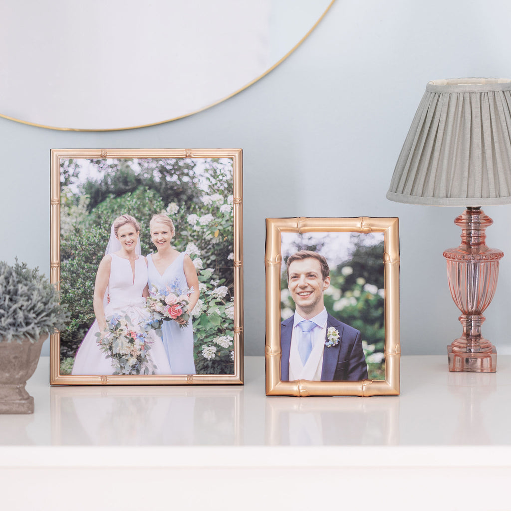 Wide Bamboo Matte Gold Photo Frame