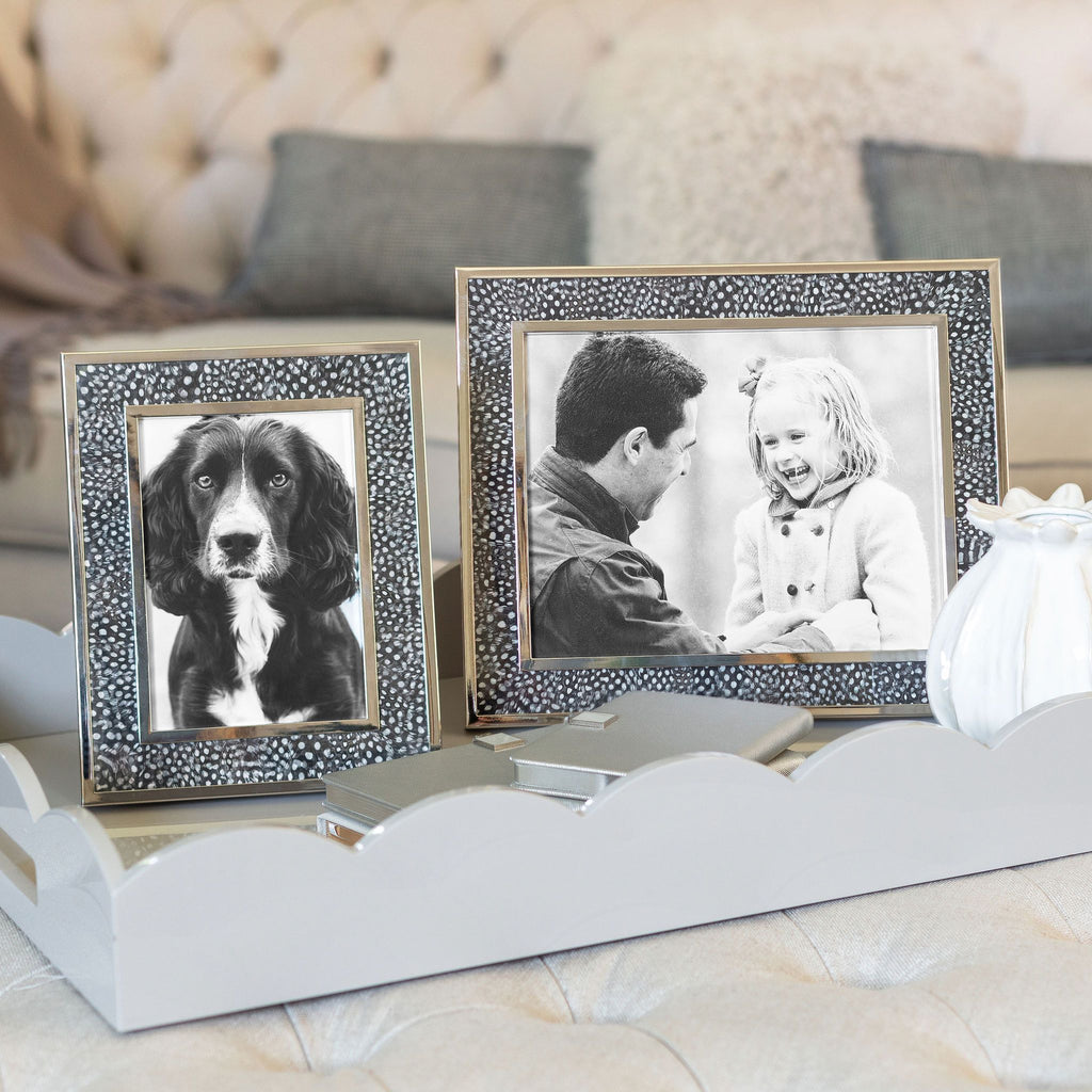 Guinea Fowl Feather & Silver Photo Frame