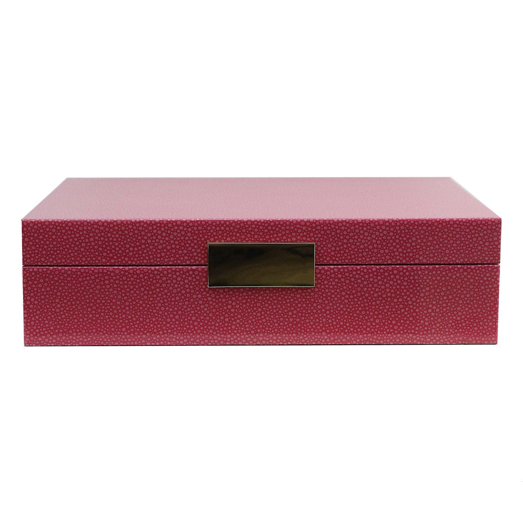 Large Pink Shagreen Jewellery Box with Gold