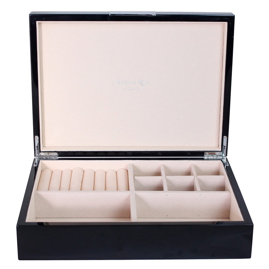 Large Black Jewellery Box with Silver