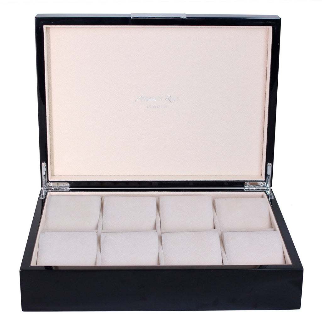 Large Black Watch Box with Silver