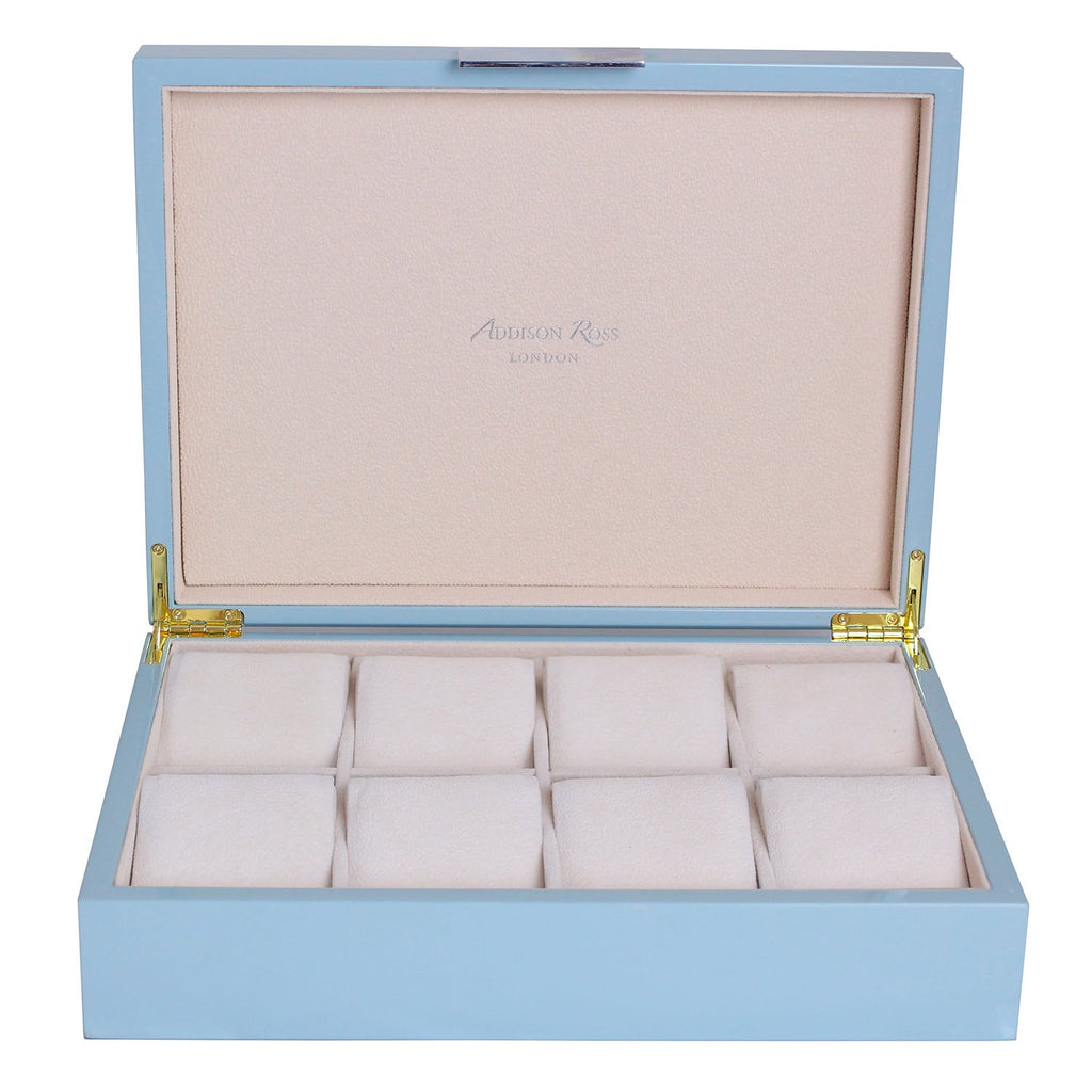 Large Pale Denim Watch Box with Silver