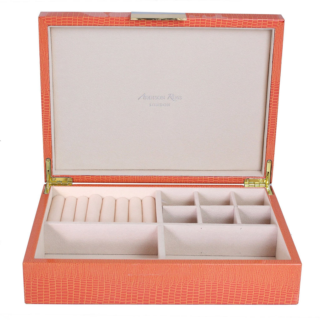 Large Orange Croc Jewellery Box with Gold