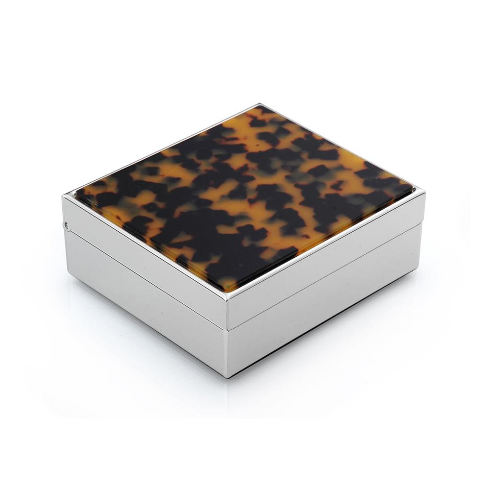 "4"" Faux Tortoiseshell & Silver Box - Boxes & Pots - Addison Ross"