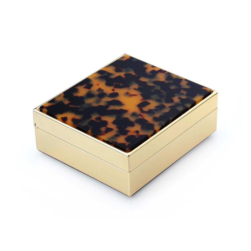 "4"" Faux Tortoiseshell & Gold Box - Boxes & Pots - Addison Ross"