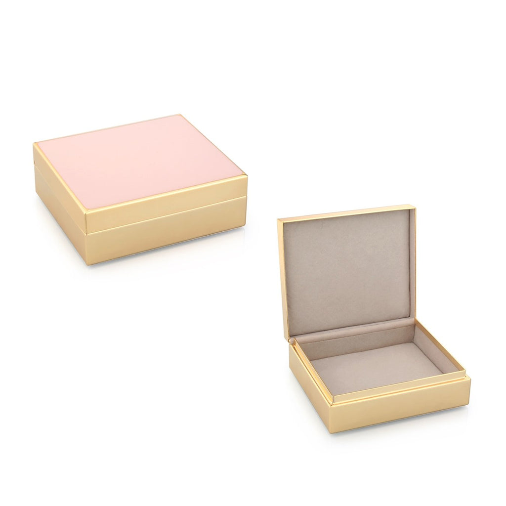 Pale Pink Enamel & Gold Box