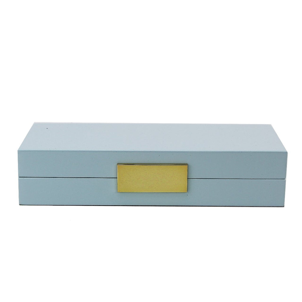 Light Blue Lacquer Box With Gold - Boxes & Pots - Addison Ross