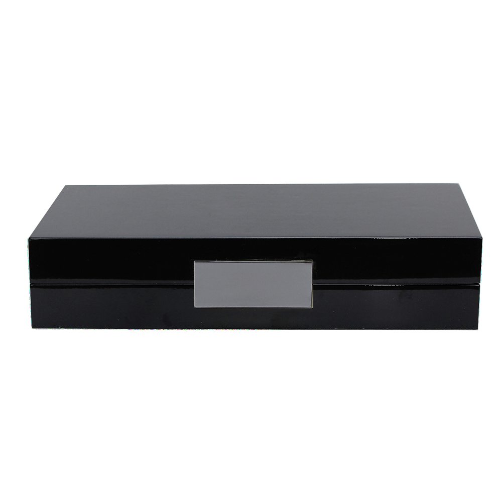 Black Lacquer Box With Silver