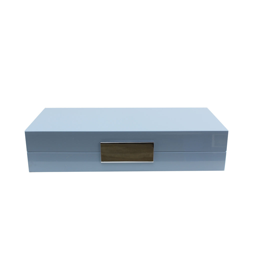 Pale Denim Lacquer Box with Silver