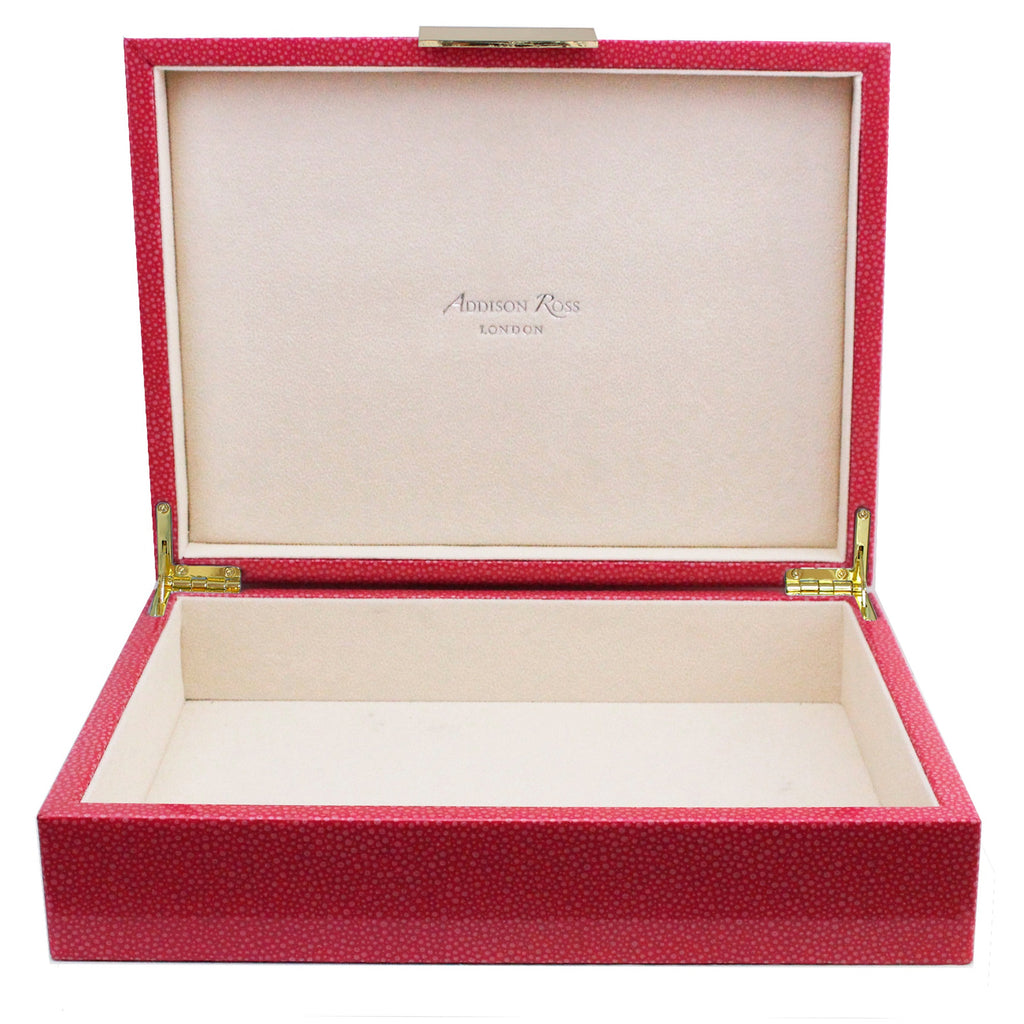 Large Pink Shagreen Lacquer Box with Gold