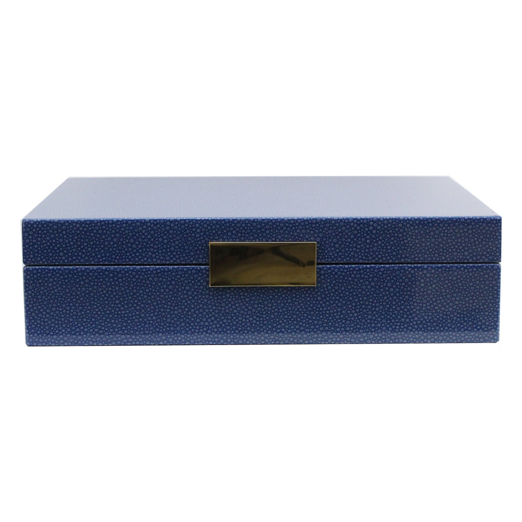 Large Blue Shagreen Lacquer Box with Silver
