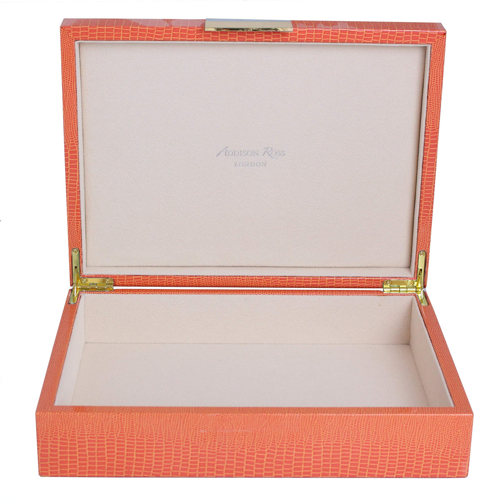 Large Orange Croc Lacquer Box with Gold