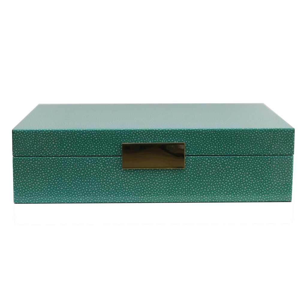 Large Green Shagreen Lacquer Box with Gold