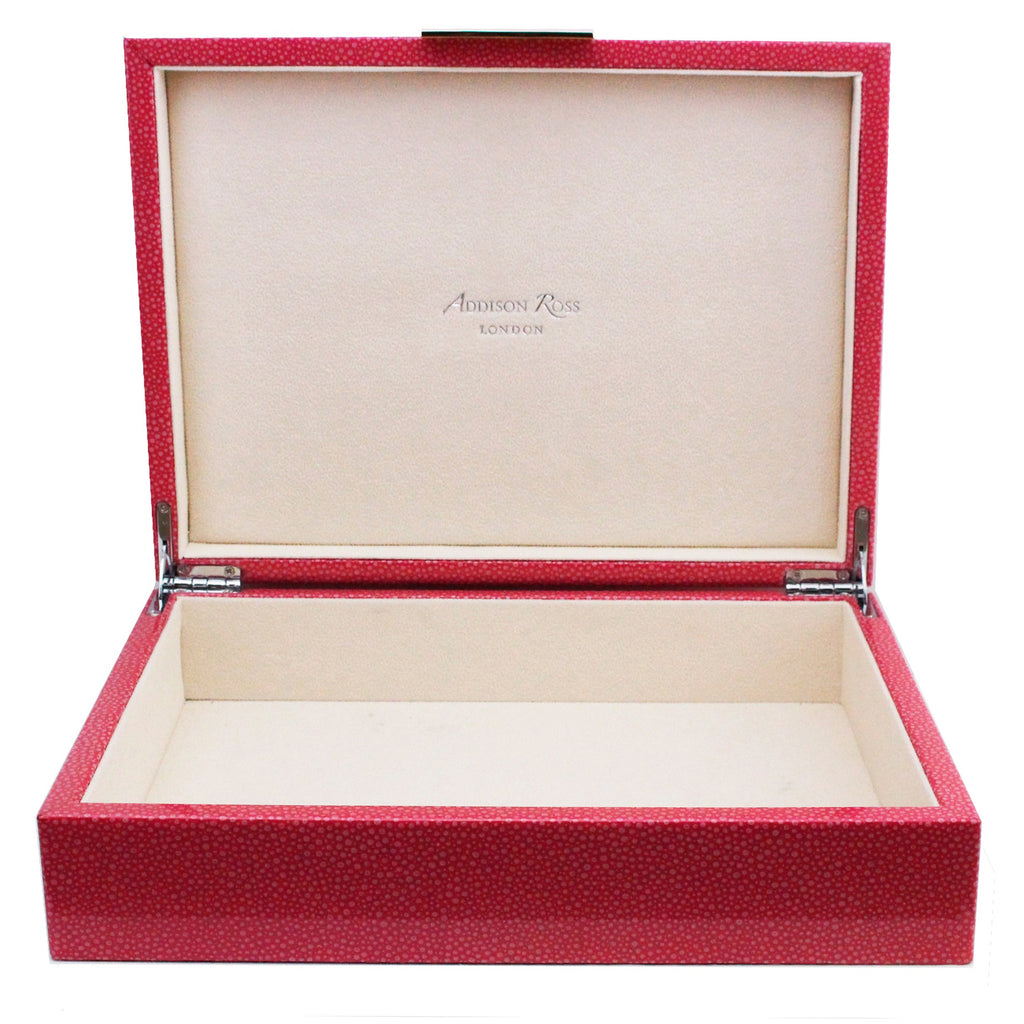 Large Pink Shagreen Lacquer Box with Silver