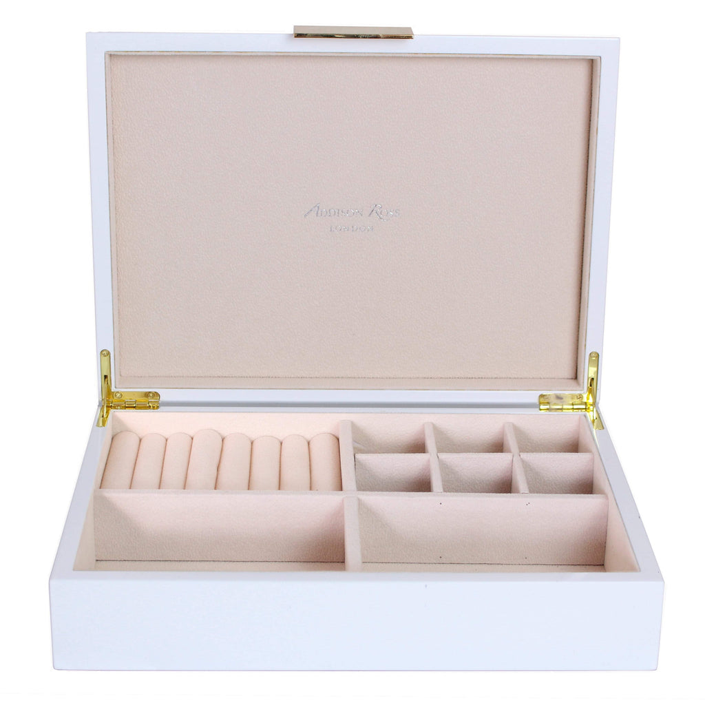 Large White Jewellery Box with Gold