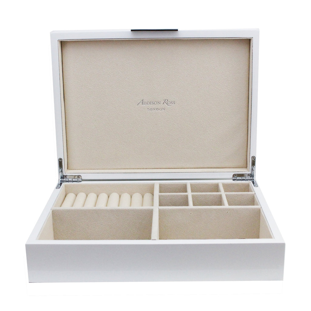 Large White Jewellery Box with Silver