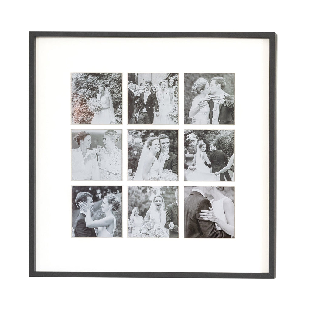 Nine Aperture Black Wall Hanging Frame