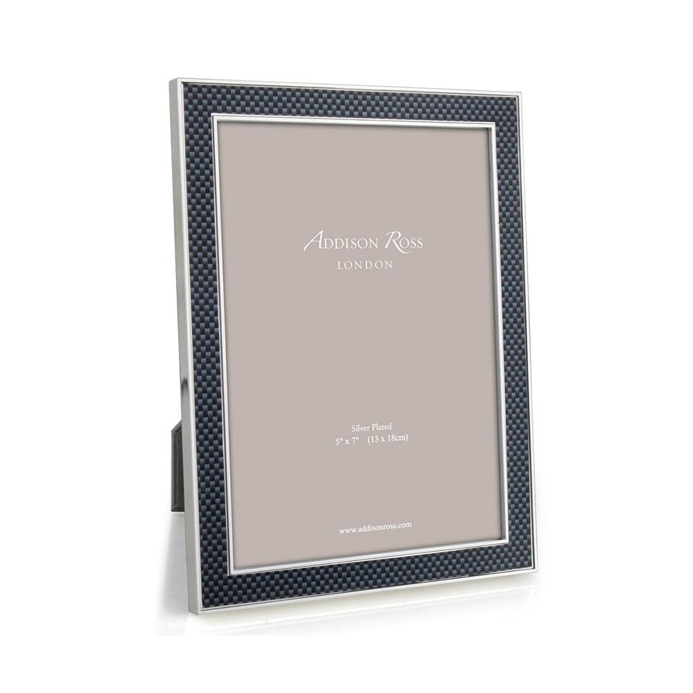 Grey Carbon Fibre & Silver 15mm Photo Frame - Silver Frames - Addison Ross