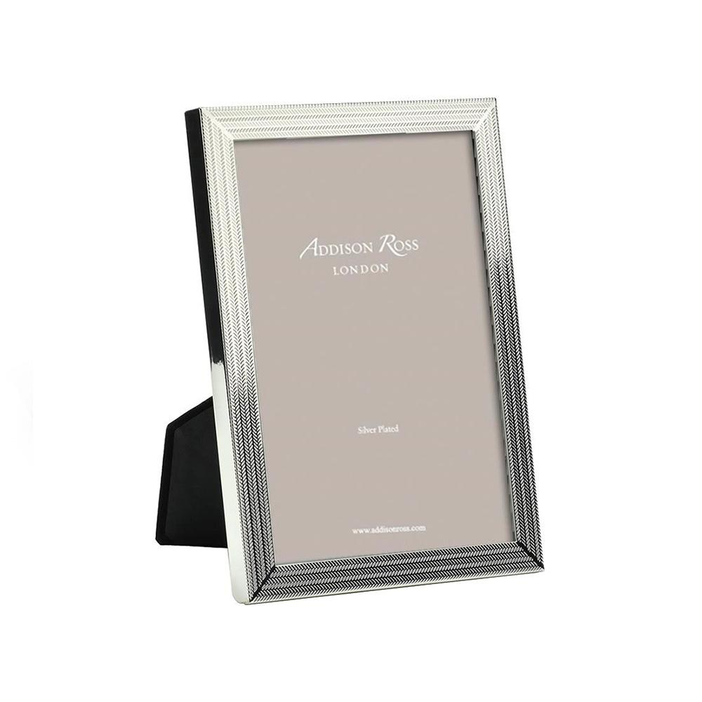 Herringbone Silver Plated Photo Frame - Silver Frames - Addison Ross