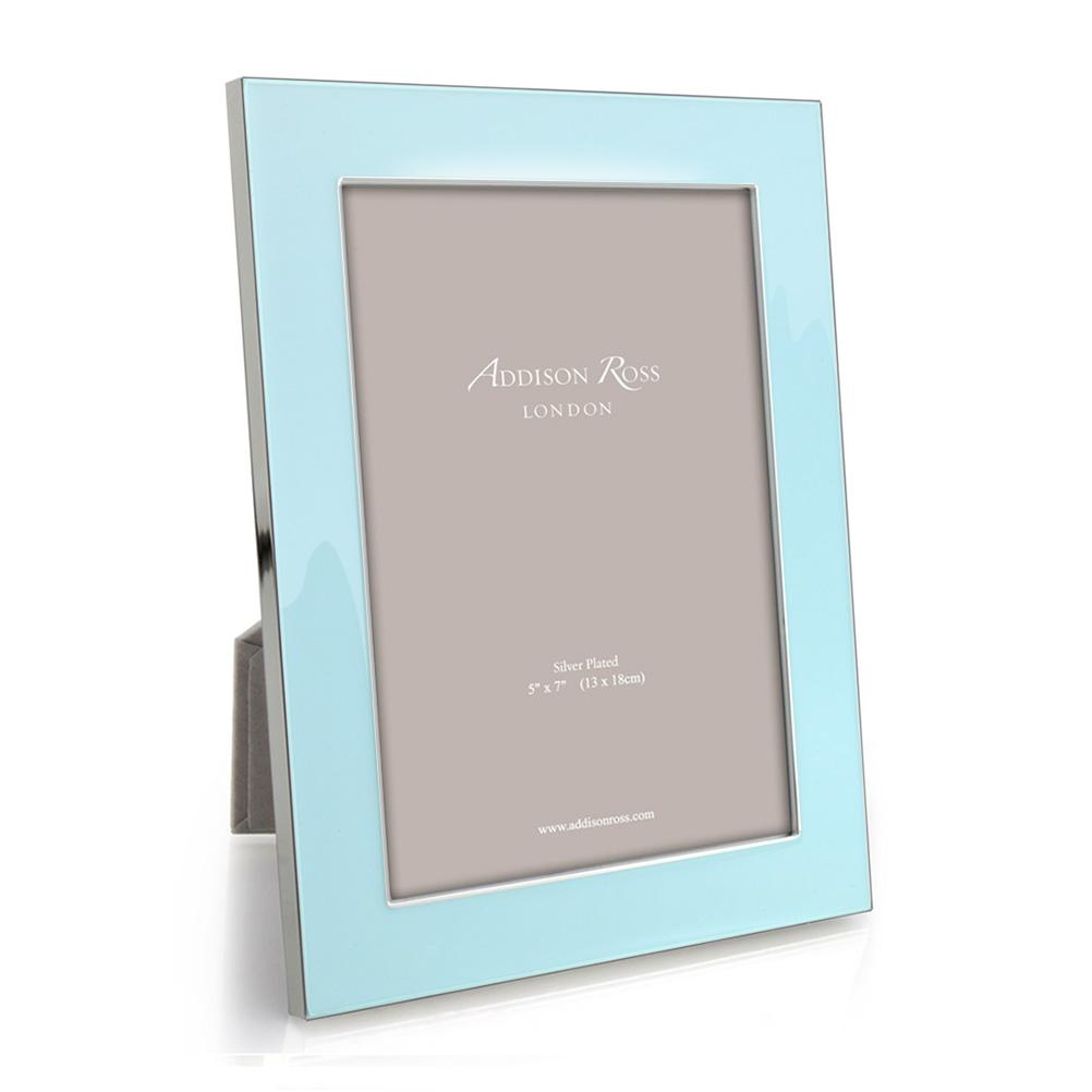 Ice Blue Enamel & Silver Wide Frame - Enamel Frames - Addison Ross