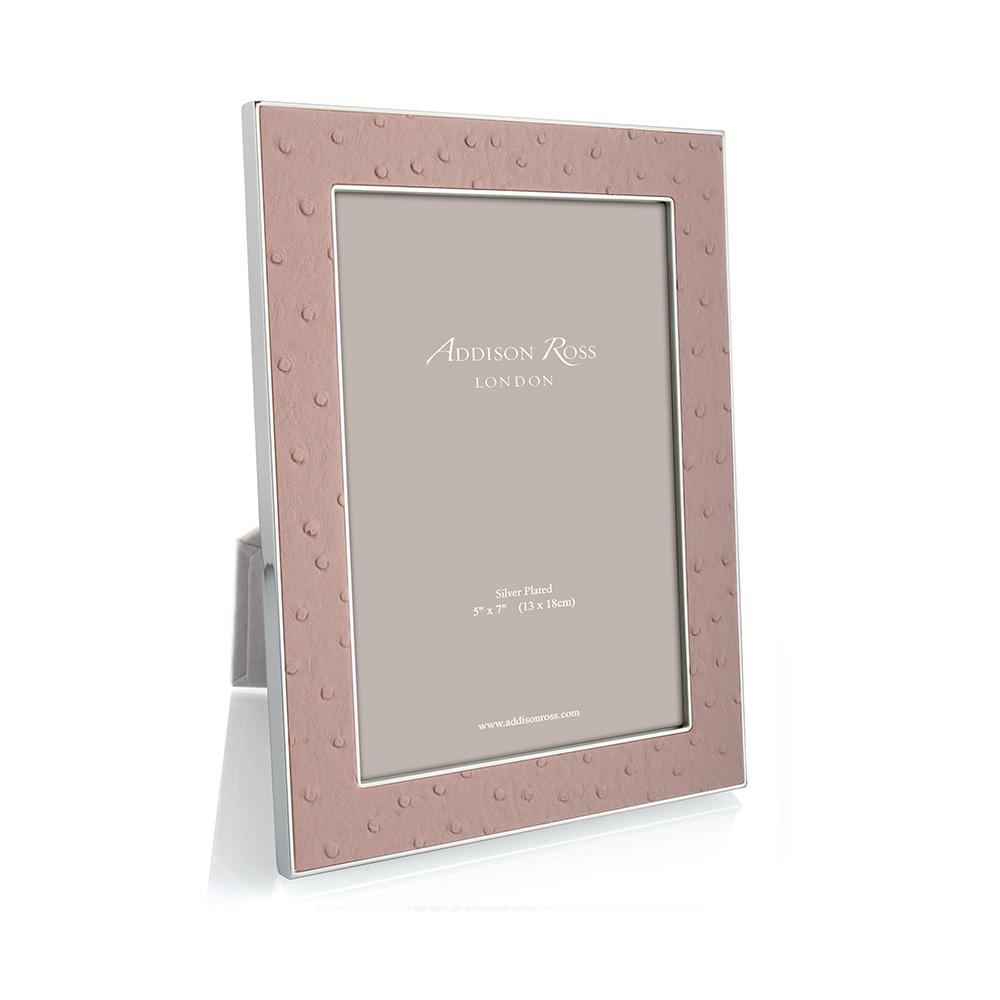Blush Ostrich & Silver Frame - Leather Frames - Addison Ross