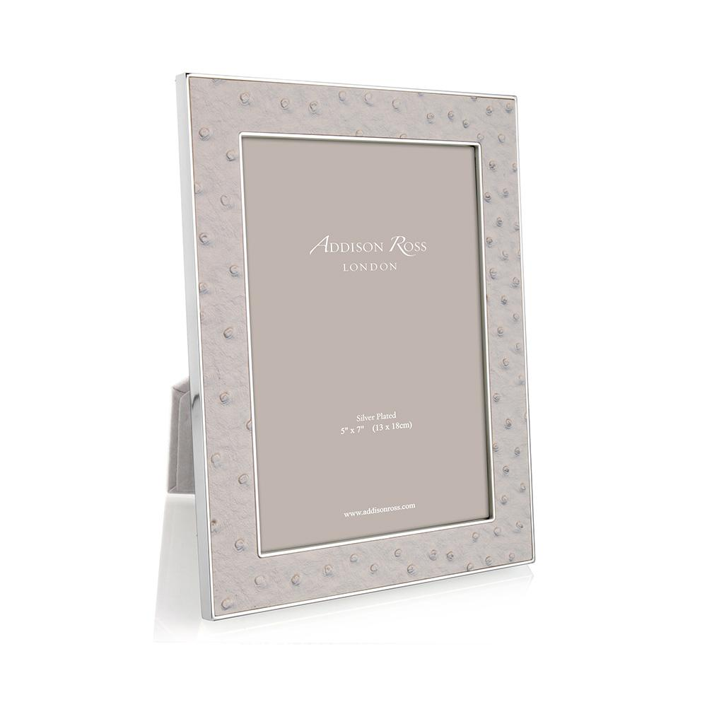 Mist Ostrich & Silver Frame - Leather Frames - Addison Ross