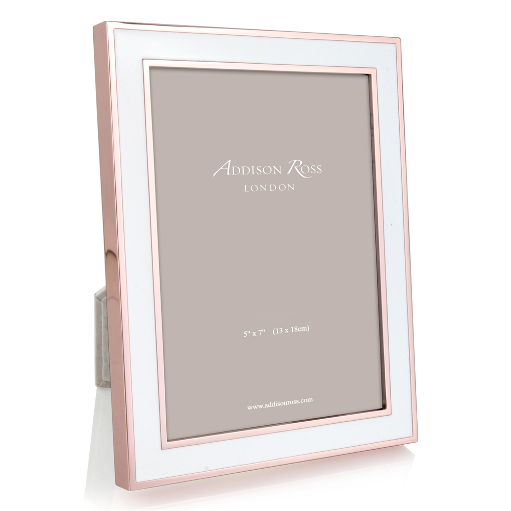 White Enamel & Rose Gold Frame - Enamel Frames - Addison Ross