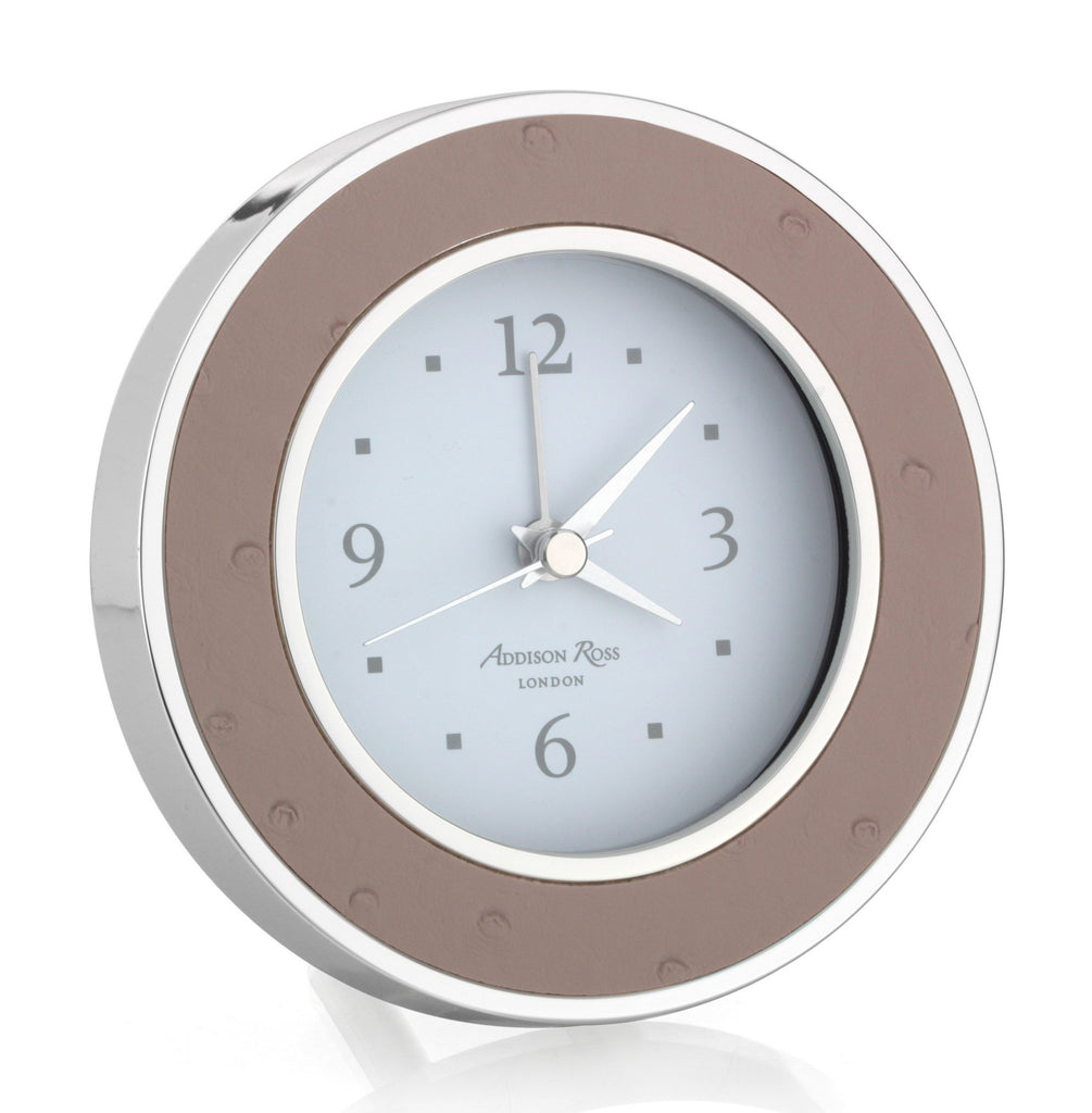 Blush Ostrich Silver Alarm Clock - Clock - Addison Ross