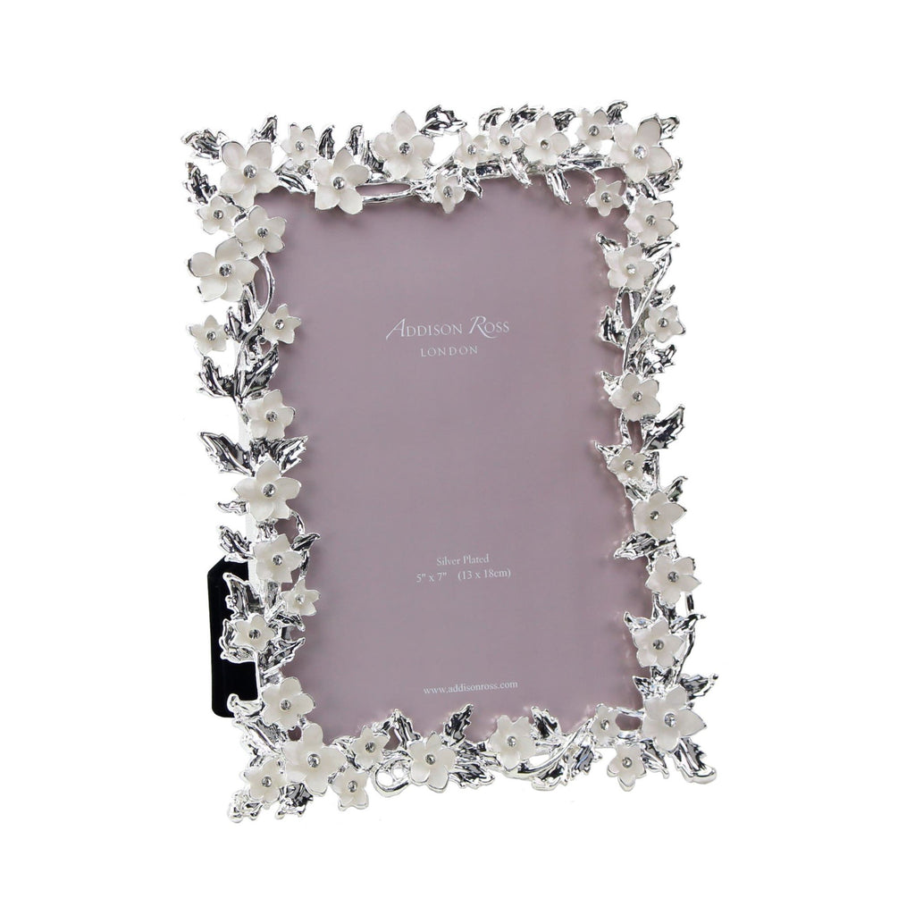 Silver & White Flower Frame