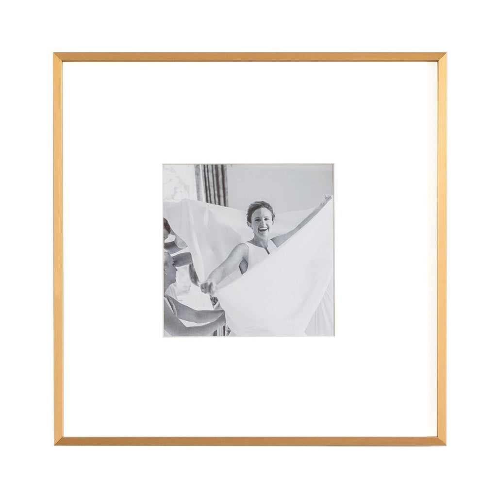 Single Aperture Brushed Gold Wall Hanging Frame