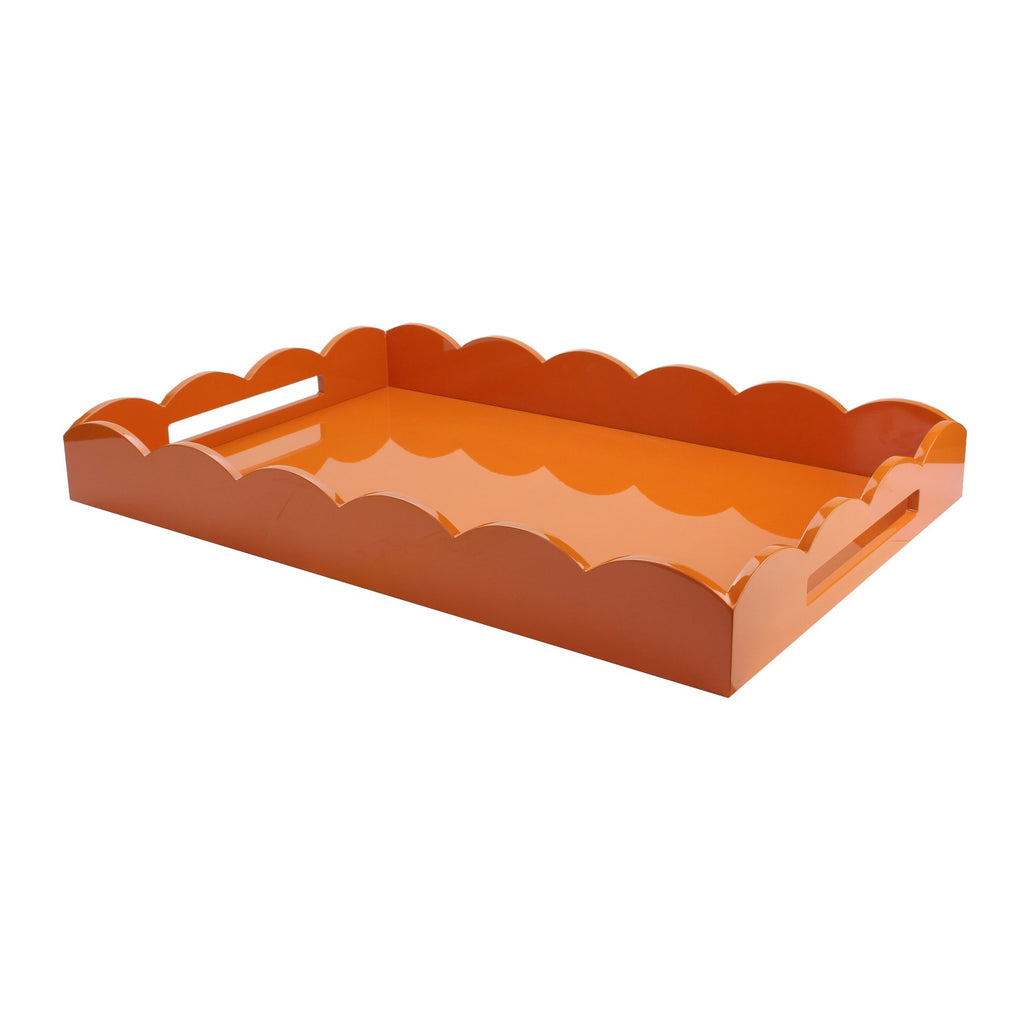 Orange Large Lacquered Scallop Ottoman Tray
