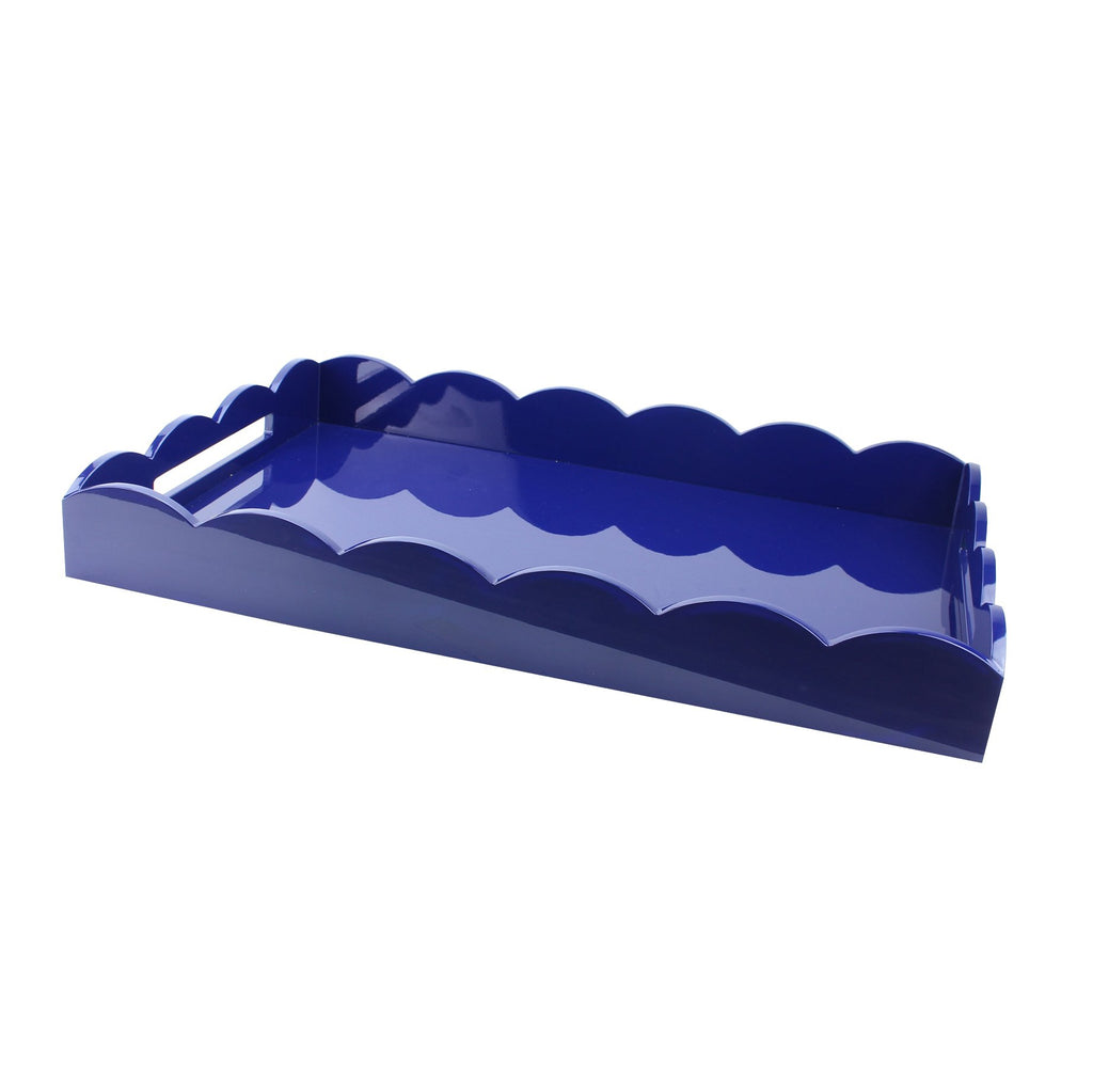 Navy Large Lacquered Scallop Ottoman Tray