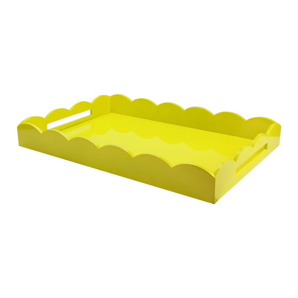 Yellow Large Lacquered Scallop Ottoman Tray